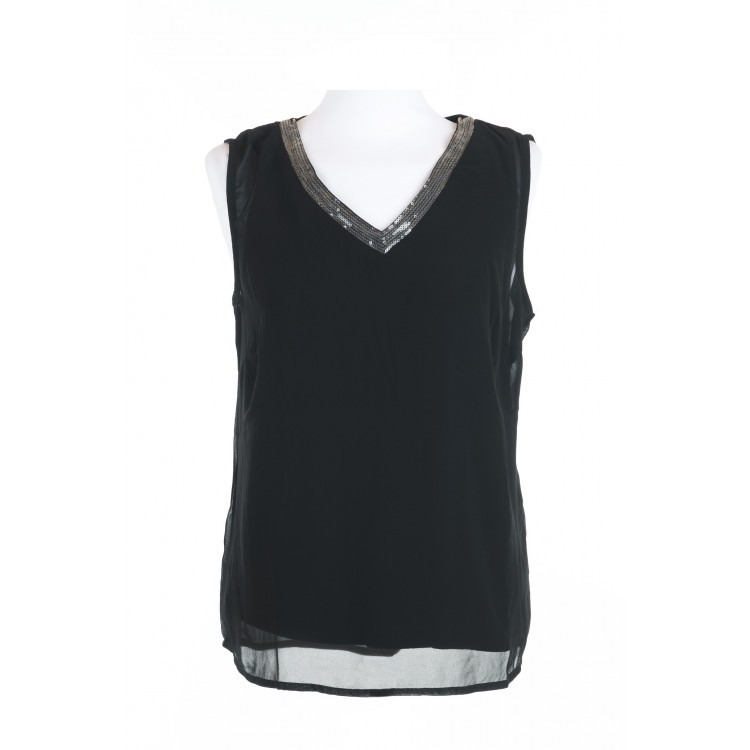 Tramontana Top  V-neck Overlayer Sequins zwart