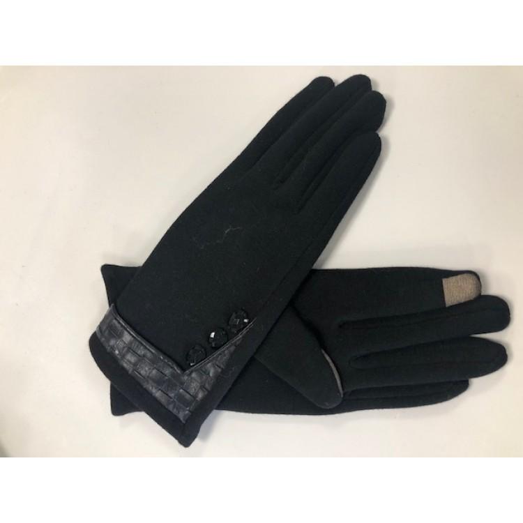 Handschoen Leren vlecht Zwart
