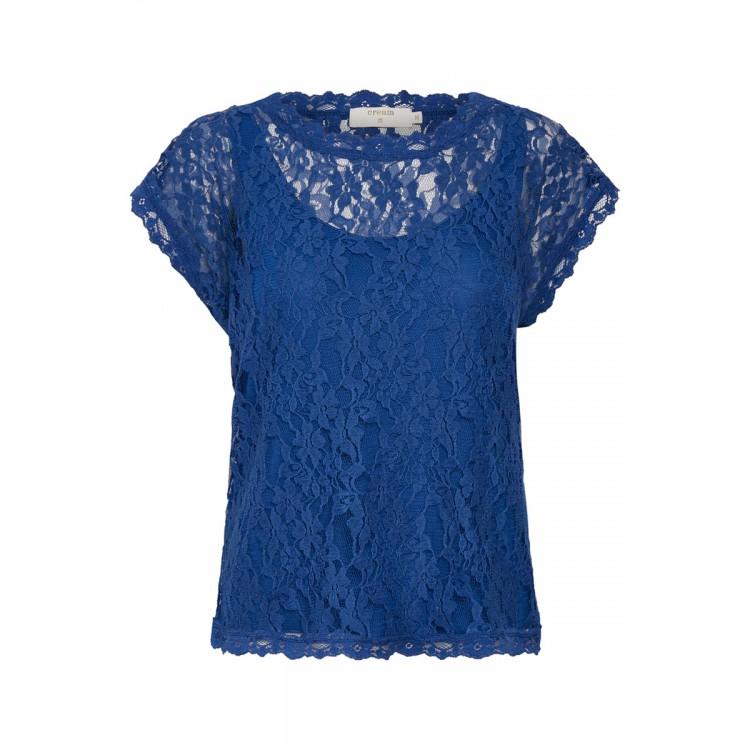 Cream Top Vivi lace limoges Blue