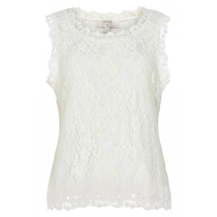 Cream Top sleeveless Vivi lace Chalk