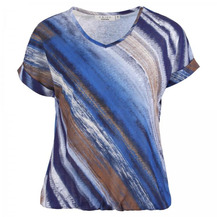Enjoy Top KM V-hals Batik kobalt