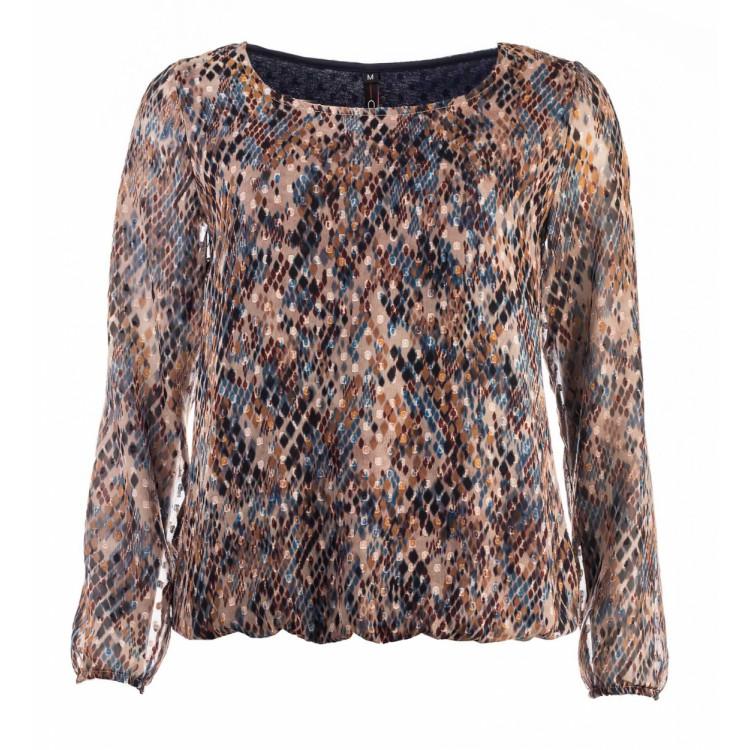 NED blouse Alesias  LS Cognac snake Voile