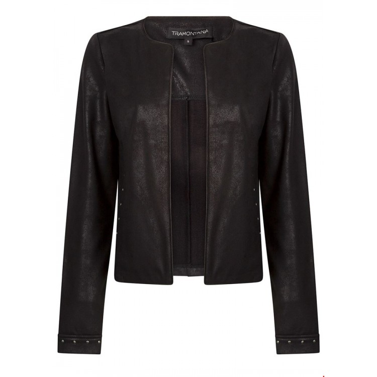 Tramontana Jacket  Suedine coated Stud details Black