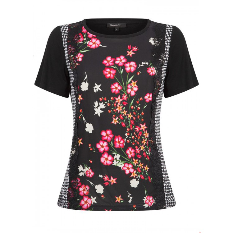 Tramontana Top R-Neck Flower lace mix Black