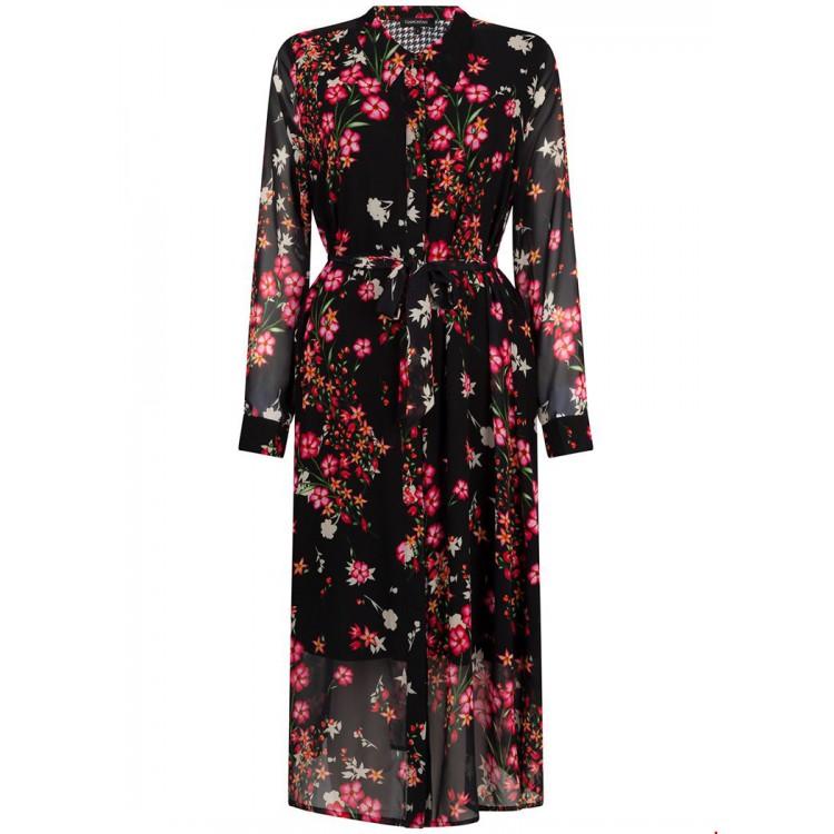 Tramontana Dress long flower print black