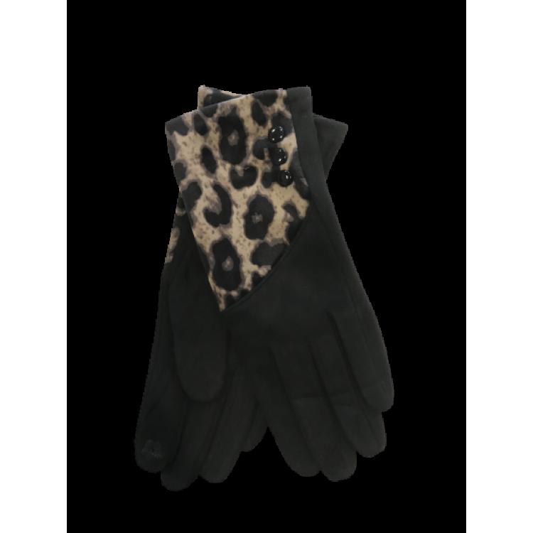 Ornella Handschoen Panter Zwart