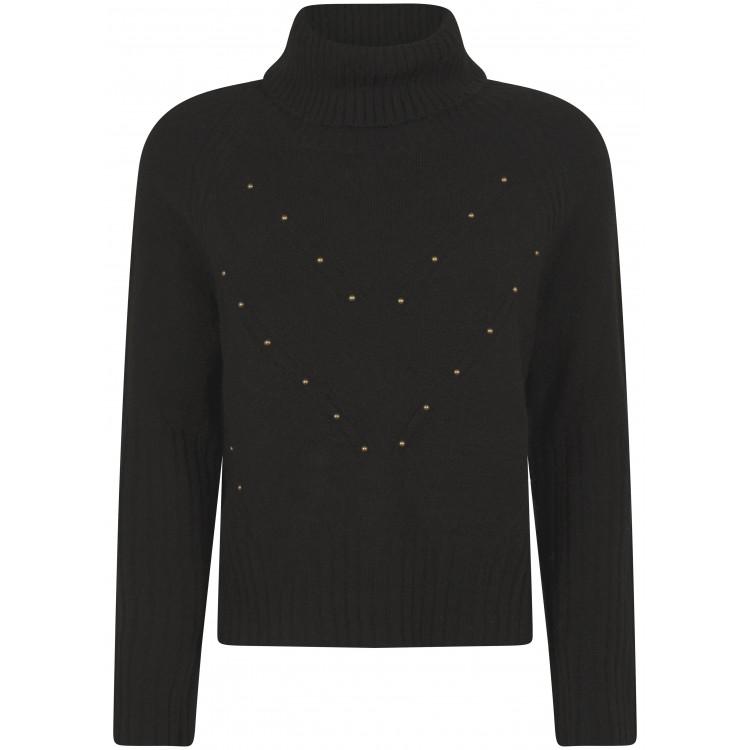 Tramontana Trui Knit Stud detail Zwart