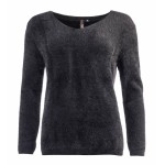Ned Trui Ikat LS Furry Knit Black